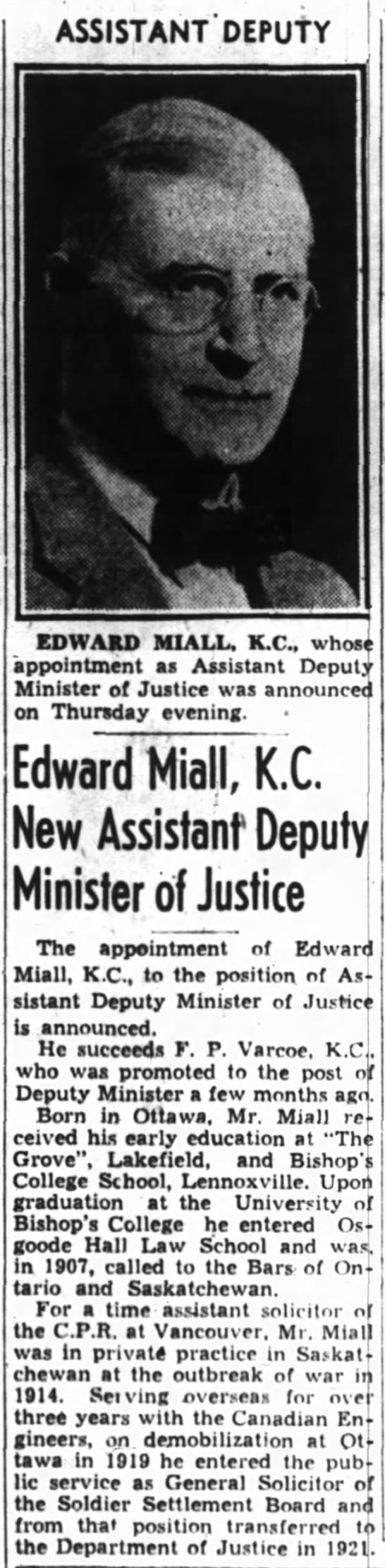Edward Miall appointed ADM Justice Ottawa Journal March 20, 1942 -