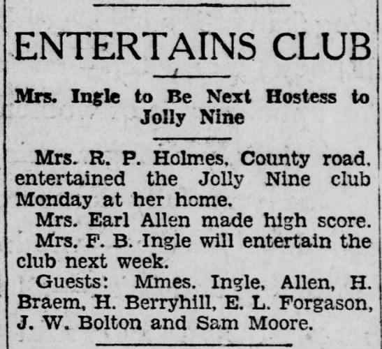 1929-01-29-08 H. Braem - ENTERTAINS CLUB Mrs. In^le to Be Next Hostess...