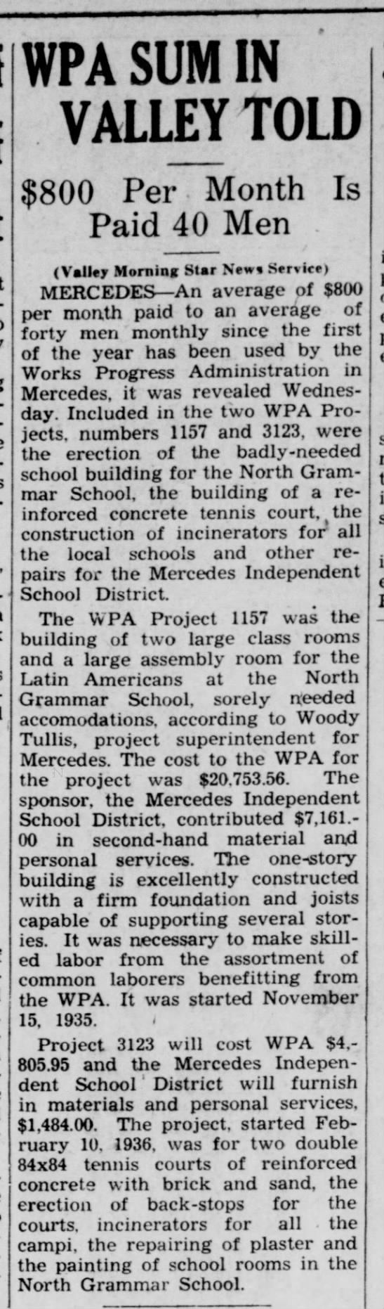 WPA Sums for MISD - Valley Morning Star Jun 25 1936 -