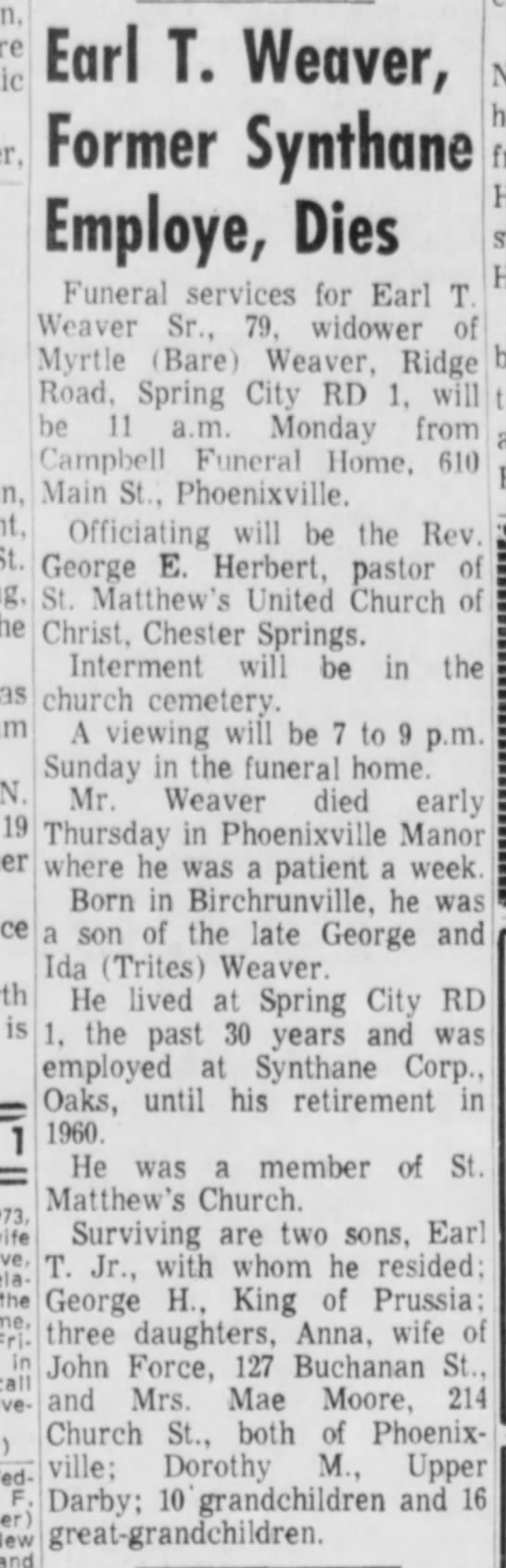 Great Grandad Weaver Obituary, May 4, 1973 Pottstown Mercury -