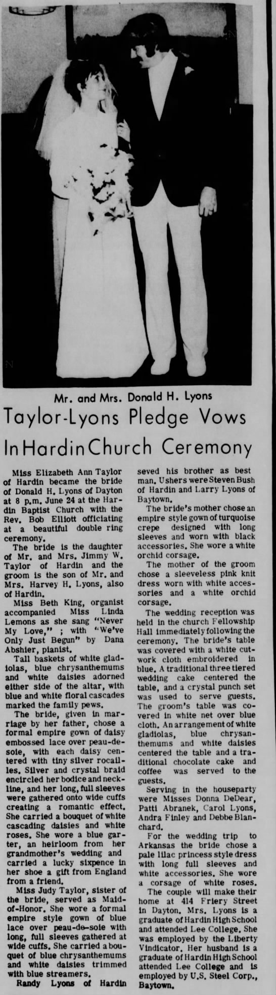 Taylor, Lyons wedding -