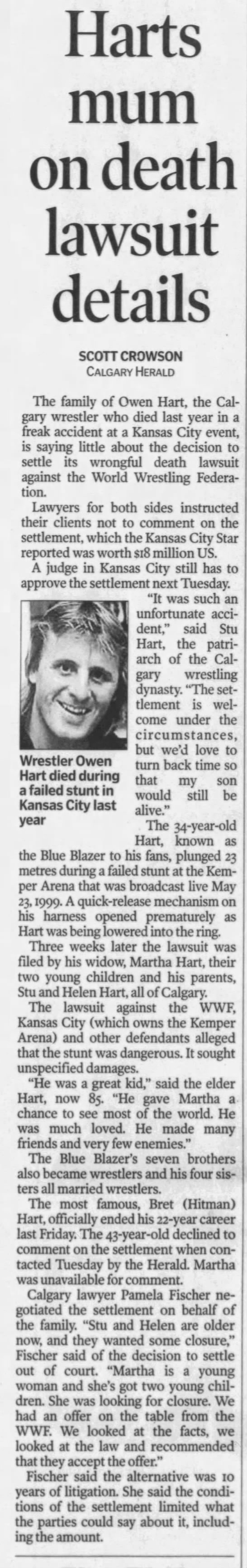 Harts mum on death lawsuit details (Calgary Herald 11/1/2000) -
