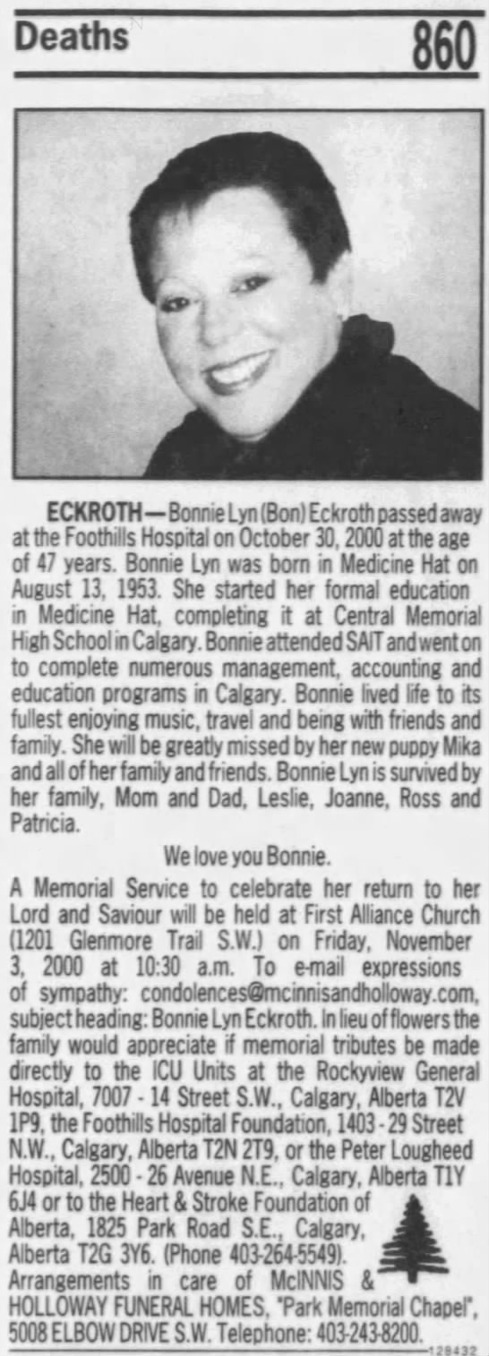 Obituary: Bonnie Lynn (Bon) Eckroth -