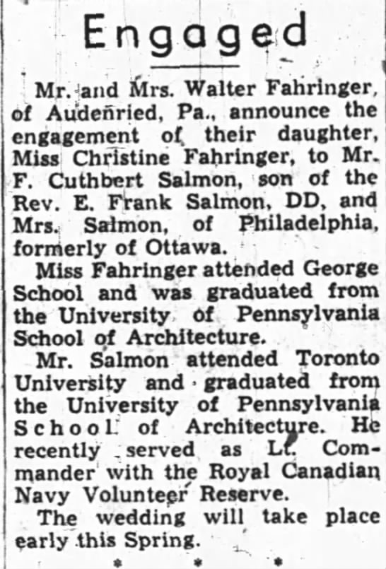 Engaged, The Ottawa Journal, (Ottawa, Ontario, Canada), March 16, 1946, p 10 -