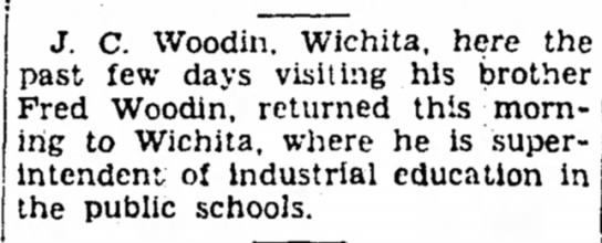 J. C. Woodin visits Fred Woodin Iola Register 23 Jul 1941 -
