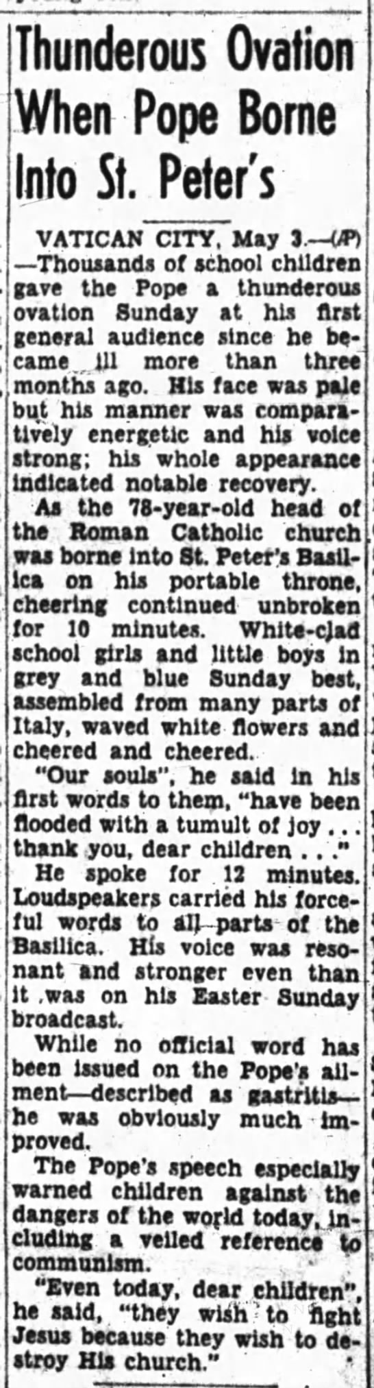 May 3, 1954 Newspaper Article -