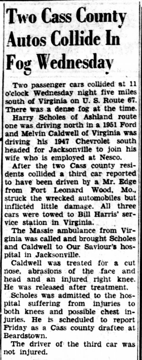 Melvin Caldwell car accident. -