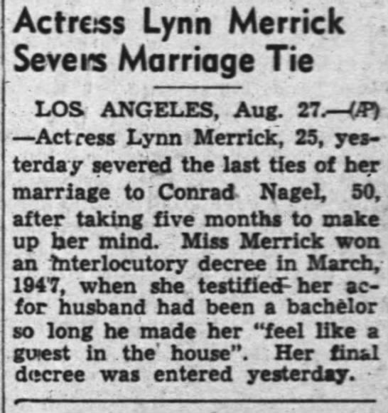 Lynn Merrick divorce from Conrad Nagel -