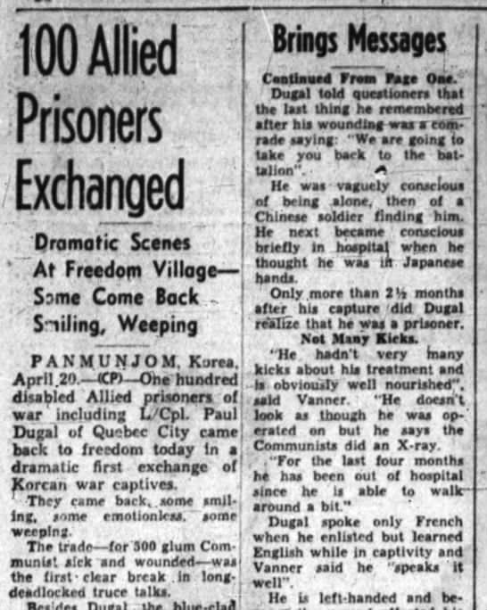 switch of allied prisoners, operation Little Switch went through -