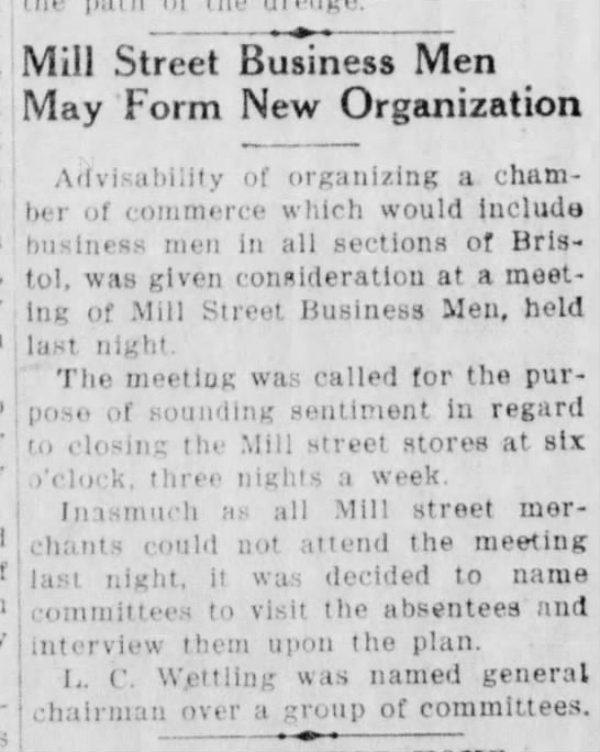 Mill Street Business Men may form new organization 10/21/1931 -