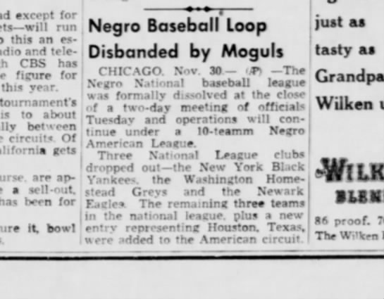 NEGRO BASEBALL TEAMS DISBANDED -