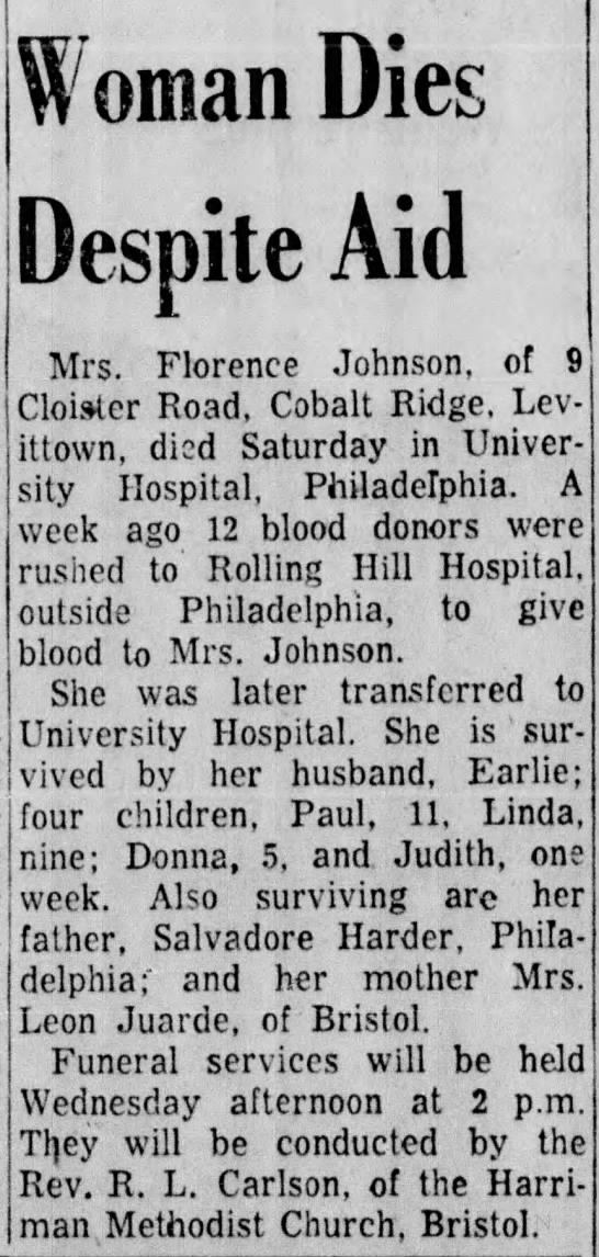 Florence Johnson Death from Car Accident 5 October 1957 -