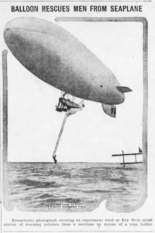 Balloon rescues men from seaplane -