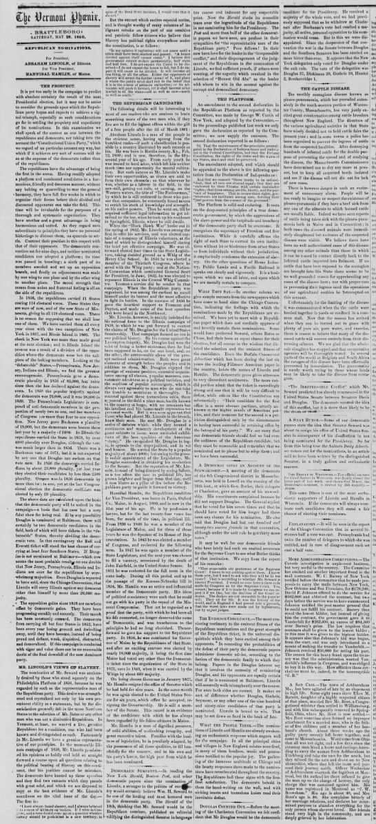 Views on Abraham Lincoln as the Republican nominee for the 1860 presidential election -