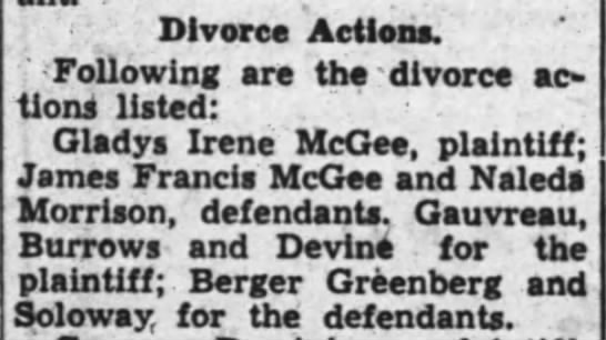 Divorce Action: Gladys Irene McGee and James Francis McGee -