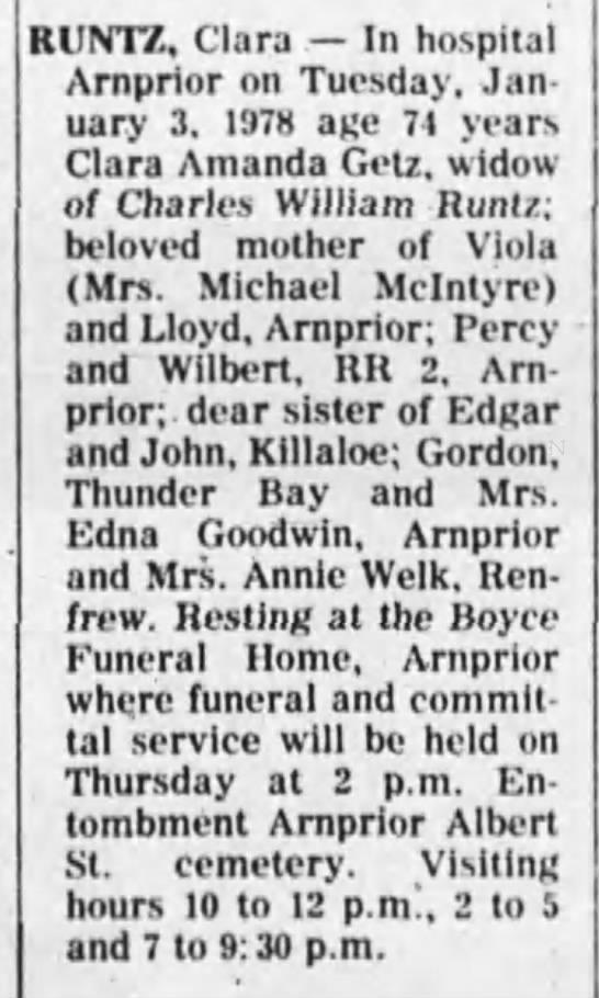 Obituary - Clara Amanda Runtz nee Getz -