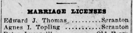 Edward Thomas and Agnes Jopling Marriage License Marriage License Notice in Newspaper -