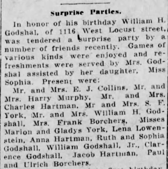 Wm H Godshall- Bday Party - Surprint Parlies. In honor of his birthday...