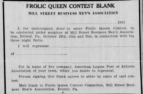 MIll Street Business Men's Association 10/18/1923 -