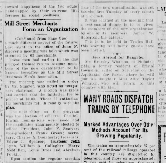 Mill Street Merchants form an organization 1/9/1924 Pg 2 of 2 -