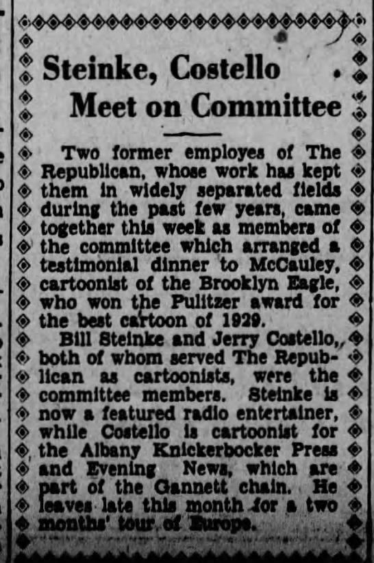 Jerry Costello & Bill Steinke on Committee together Scr Rep June 19 1930 pg 3 -