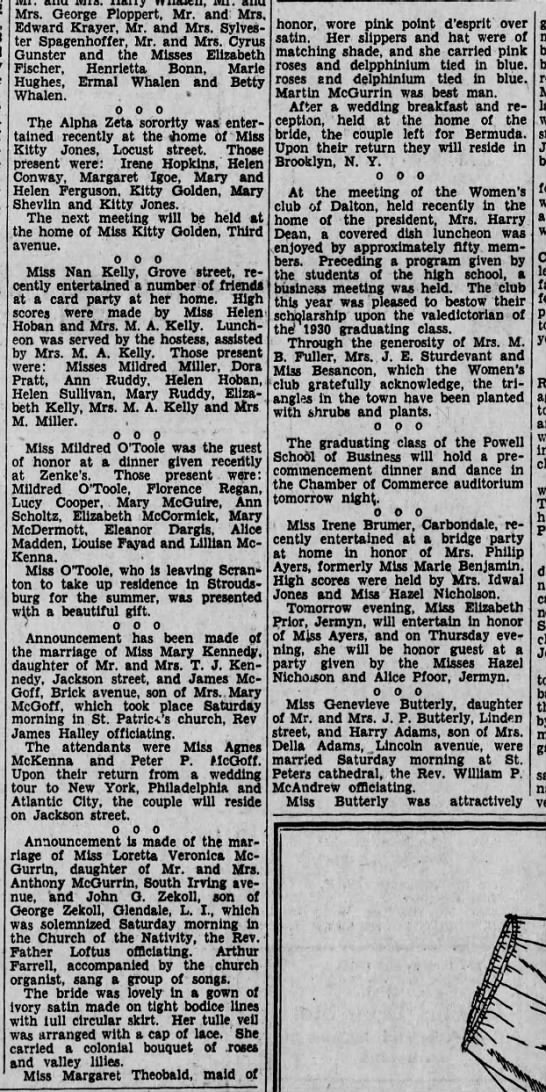 Loretta McGurrin wedding story, june 23, 1930 -