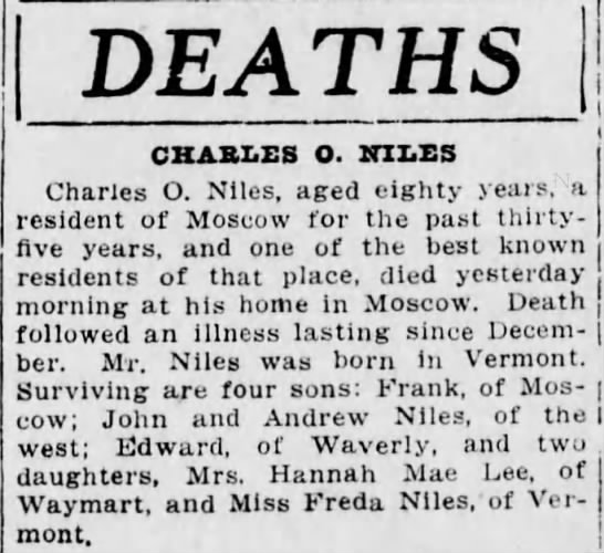 Death Charles O Niles - DEATHS CHARLES O. WILES Charles O. Niles, aged...