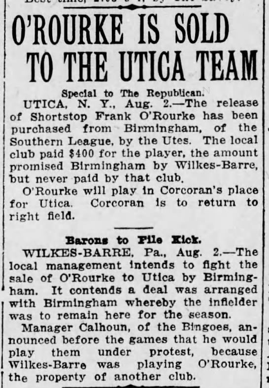 Wilkes-Barre team in trouble, 1916 O'Rourke -