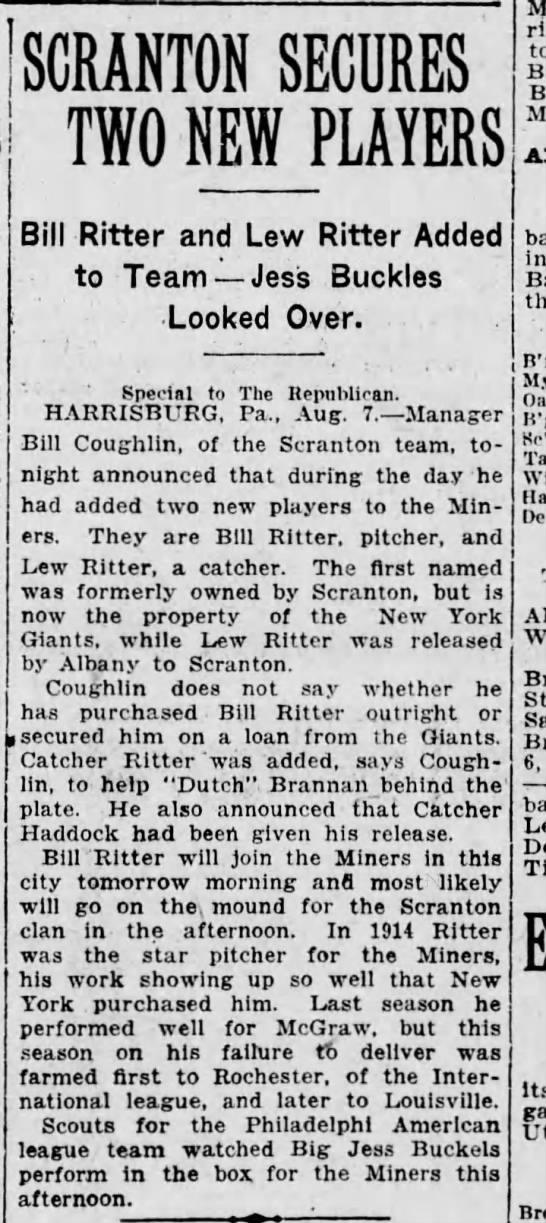 Scranton secures 2 players 1916 -
