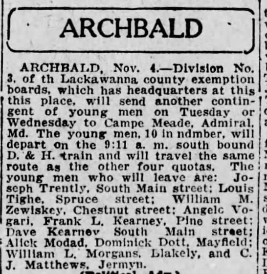Joe Trently to War 1917 - f ; ARCHBALD ) ARCHBALD. Nov. 4. Division No....