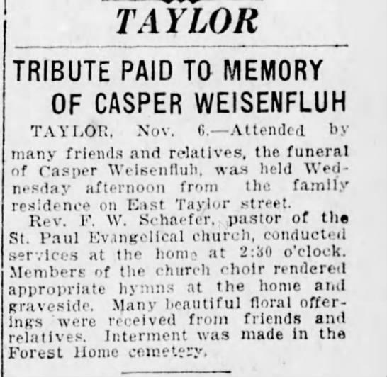 Weisenfluh, Casper - funeral  in the Friday, 7 Nov 1924, pg. 4, The Scranton Republican -