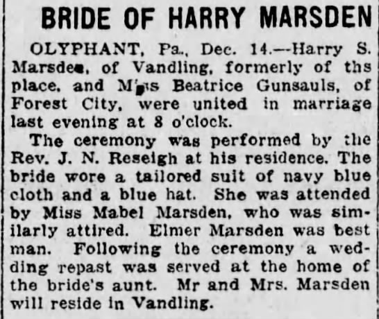 Marriage Beatrice Gunsauls and Harry S Marsden - BRIDE OF HARRY MARSDEN OLYPHANT, Pa., Dec. 14....