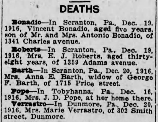 12/21/1916 Death Notice about Barbara Pope, who died 12/16/1916 -