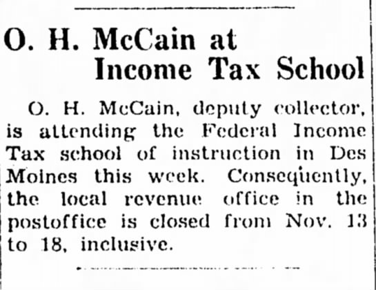 - O. H. McCain at Income Tax School O. H. McCain,...