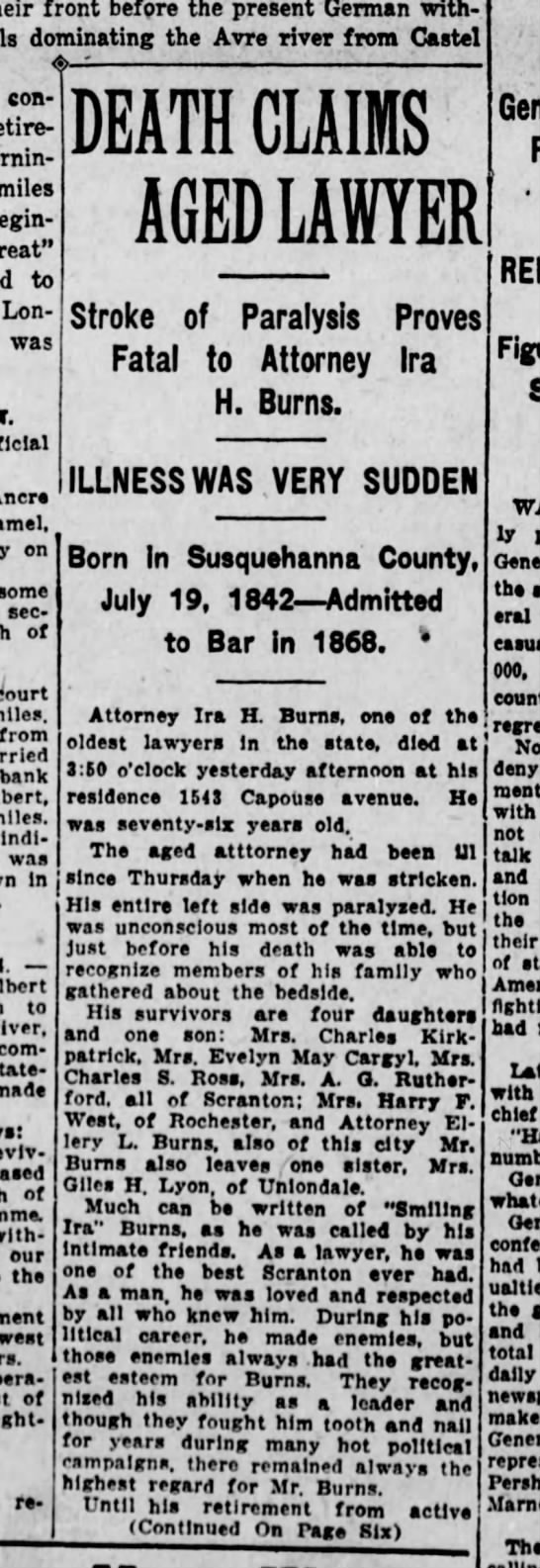 Ira Burns Obituary Scr Rep Aug 5 1918 pg 1 -