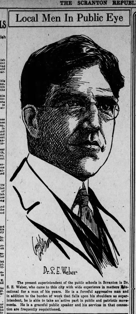 Jerry Costello Portrait of Dr. S E Weber Scr Rep Sep 24 1918 pg 6 -