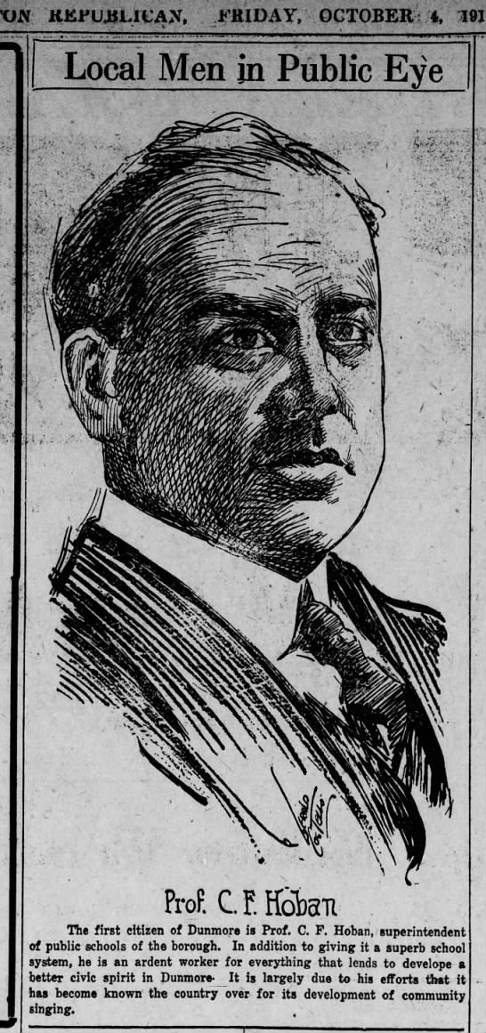 Jerry Costello Portrait of Prof. C F Hoban Scr Rep Oct 4 1918 pg 5 -