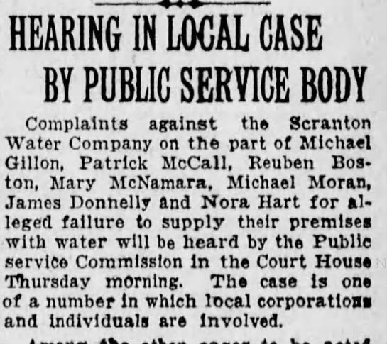 Reuben Boston water company complaint -