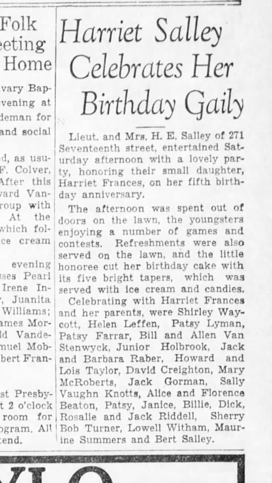 Riddell kids went to birthday party 1934 -