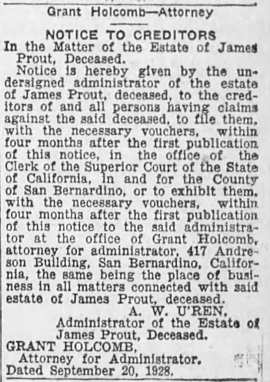 1928 - Notice to creditors after James Prout's death -