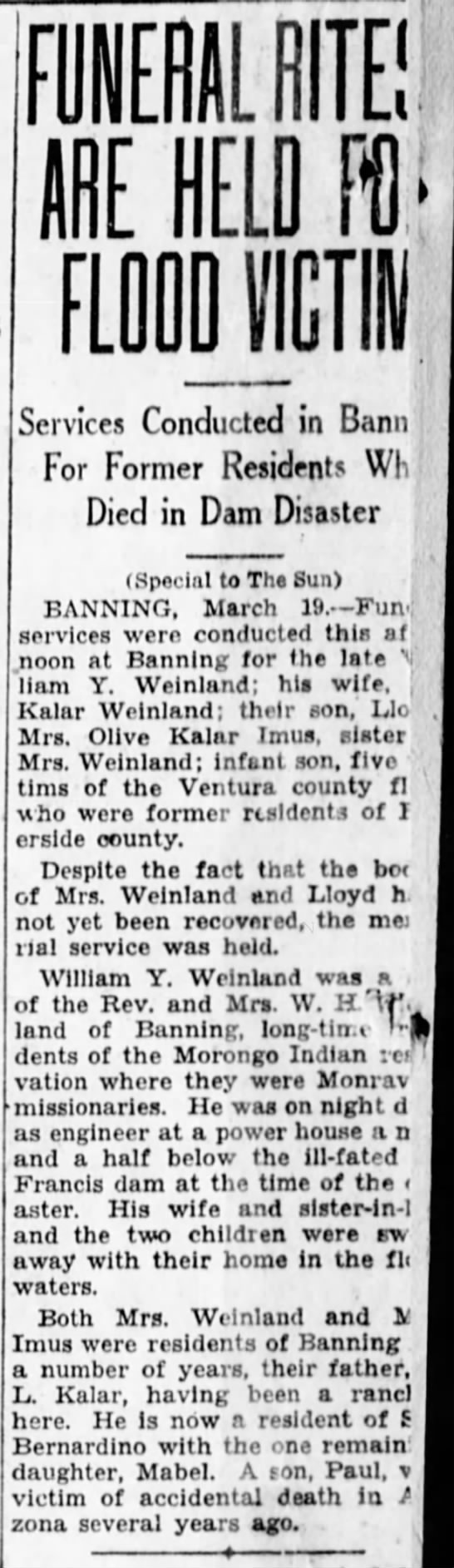 3/20/1928 San Bernardino County Sun - FUNERAL RITE! ARE HELD Ft FLOOD Ml Services...
