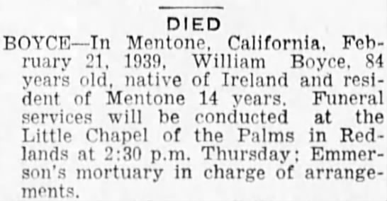 Death notice for William Boyce -