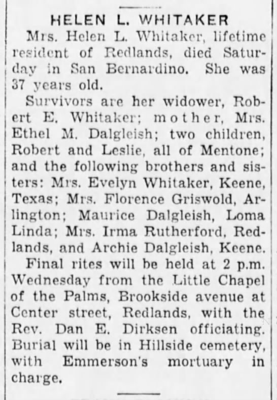 1940-03-25 WHITAKER HELEN L - OBITUARY -
