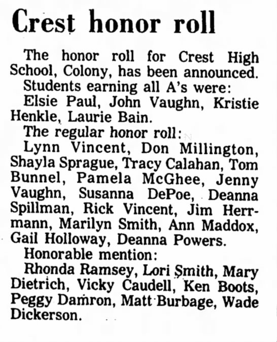 - Crest honor roll The honor roll for Crest High...