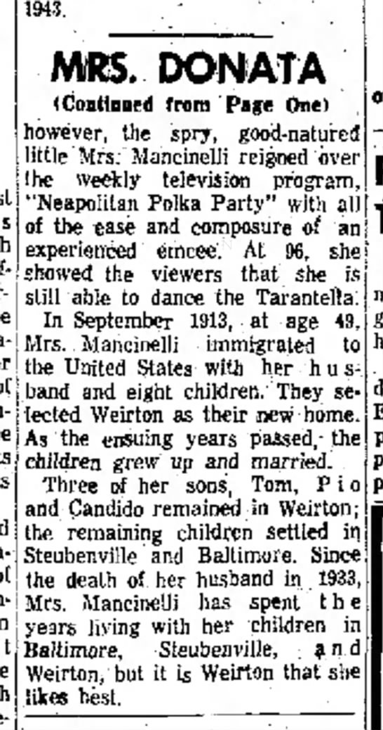 Donata Tarullo page 2 Mother of the year 1960 -