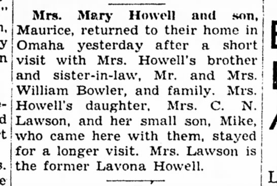 Mary Howell and Lavona and MIke visit William Bowler Oct 15, 1946 -