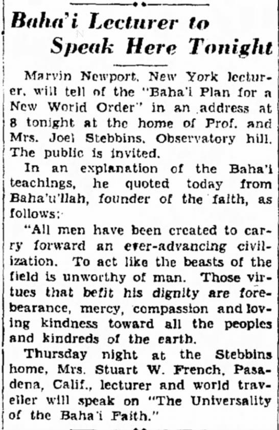 Marvin Newport travels for Baha'i Faith -