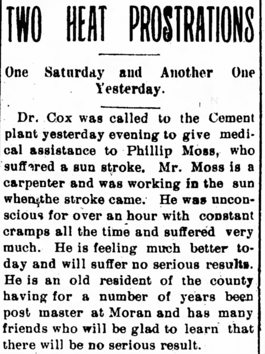 Phillip Moss Sunstroke - The Iola Register 15 July 1901 Page 6 -