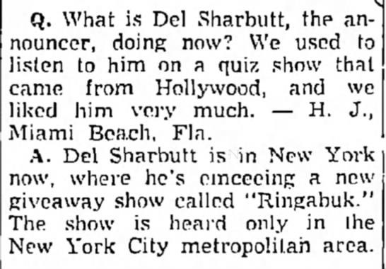 """Del Sharbutt, """"Ringabuk"""" show in NYC. -"""