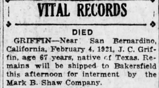Death of James C Griffin